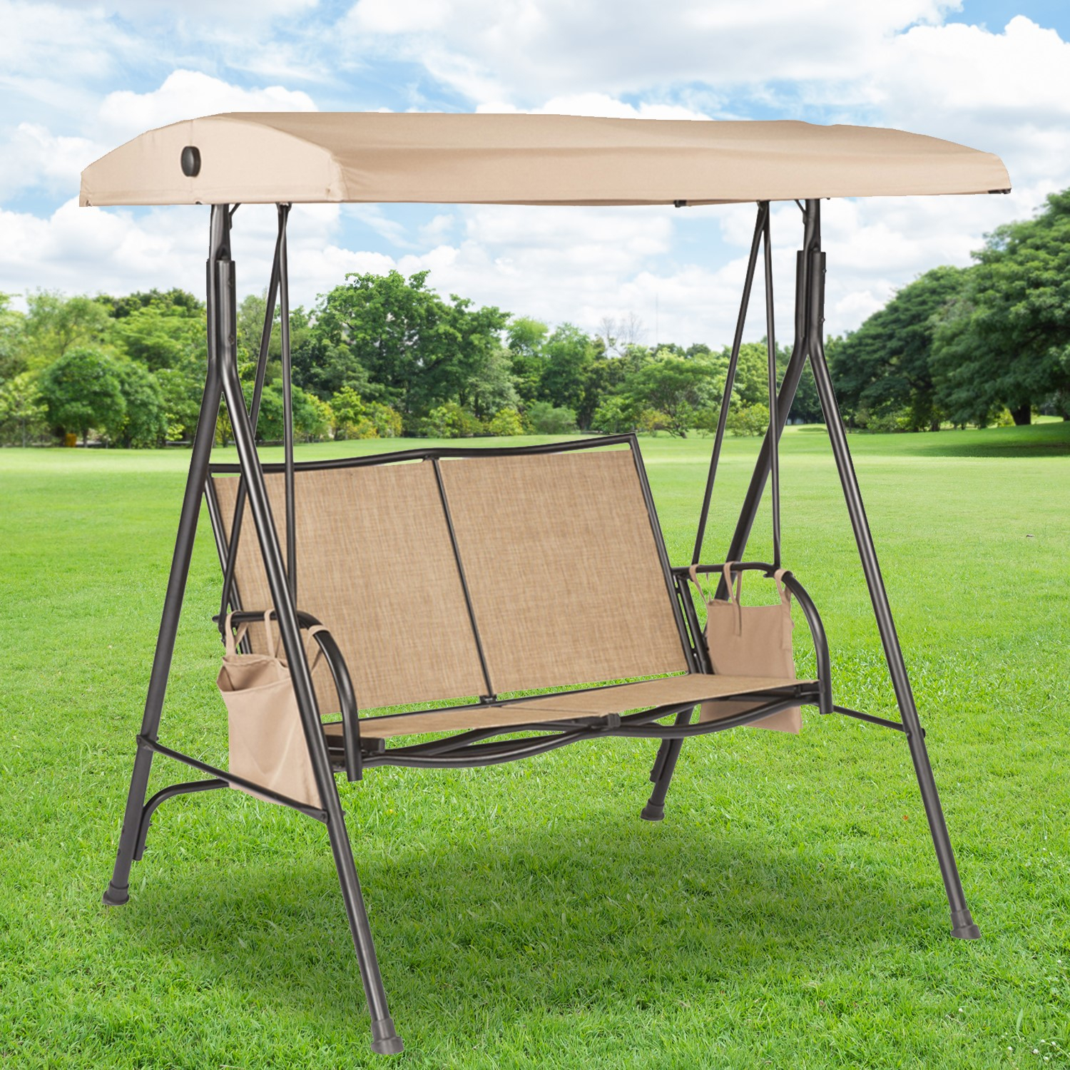 Replacement Swing Canopies For Lowe's Swings – Garden Winds Throughout 2 Person Black Steel Outdoor Swings (Image 20 of 25)