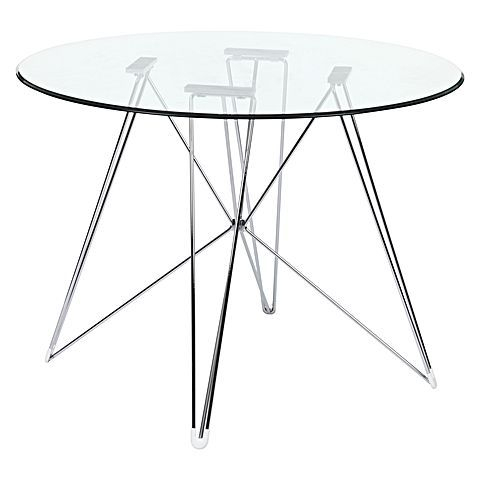 Replica Eames Eiffel Dsr Round Glass Dining Table, Chrome In Eames Style Dining Tables With Chromed Leg And Tempered Glass Top (View 2 of 25)