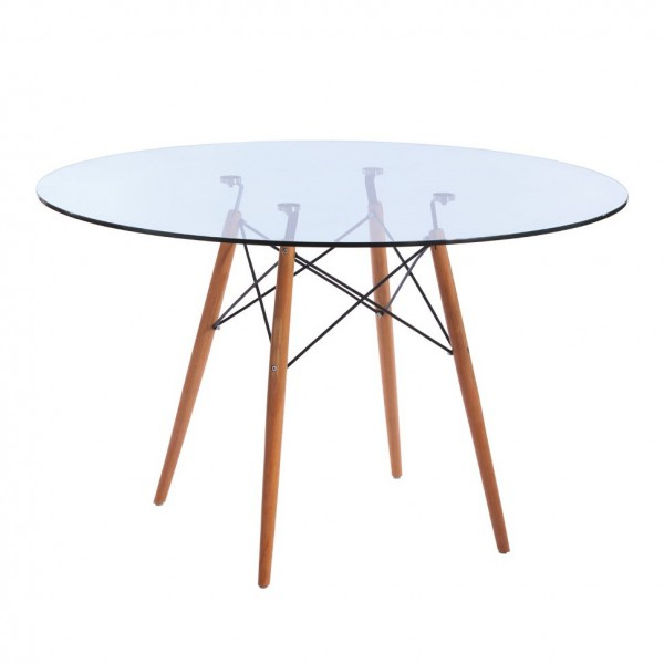 Replica Eames Eiffel Wood Leg Table – 120Cm Glass Top Inside Eames Style Dining Tables With Chromed Leg And Tempered Glass Top (View 17 of 25)