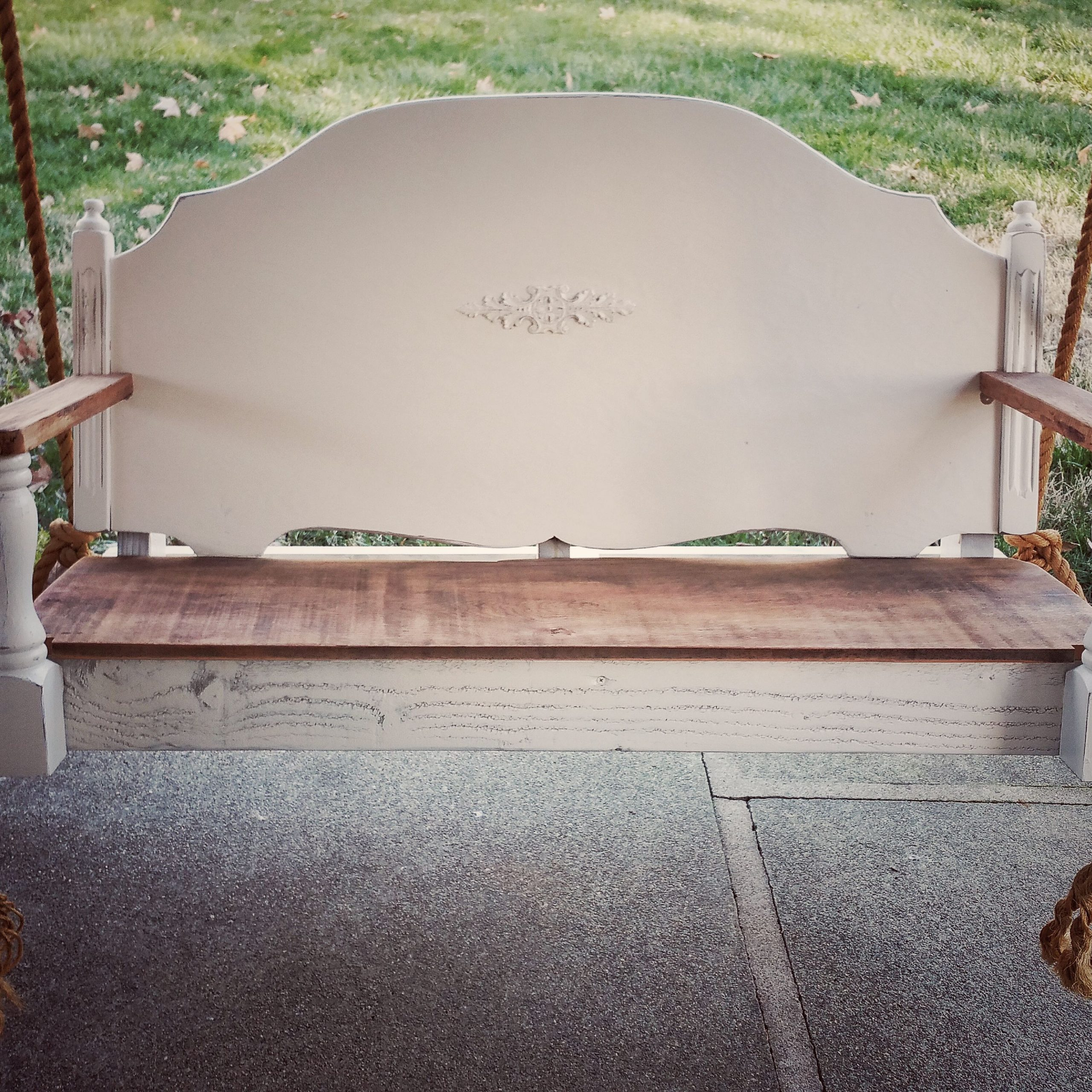 Repurposed Porch Swing Made From A Vintage Headboard, Seat Within Classic Porch Swings (Image 20 of 25)