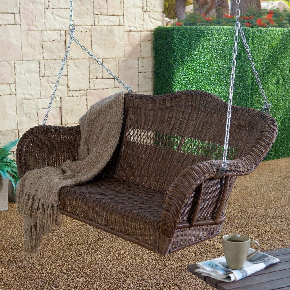 Resin Wicker Porch Swing Black | Porch Swing | Wicker Porch In 2 Person Hammered Bronze Iron Outdoor Swings (Image 23 of 25)