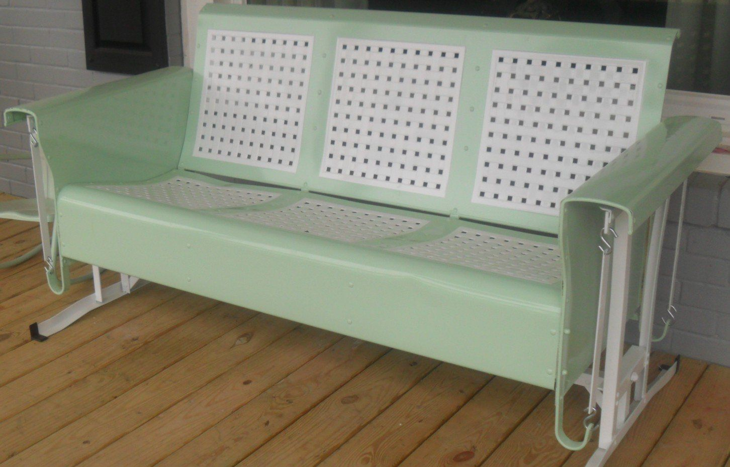 Restored Basketweave Metal Three Seat Vintage Old Porch Pertaining To Metal Retro Glider Benches (Image 11 of 25)