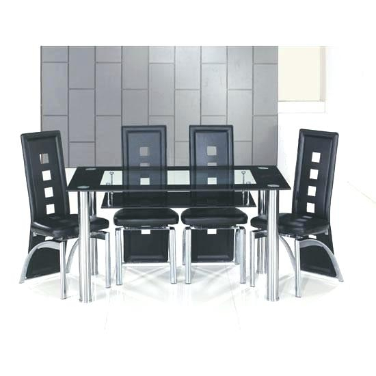 Retro Glass Top Dining Table Set With 6 Pu Leather Chairs With Regard To Retro Round Glasstop Dining Tables (Image 15 of 25)