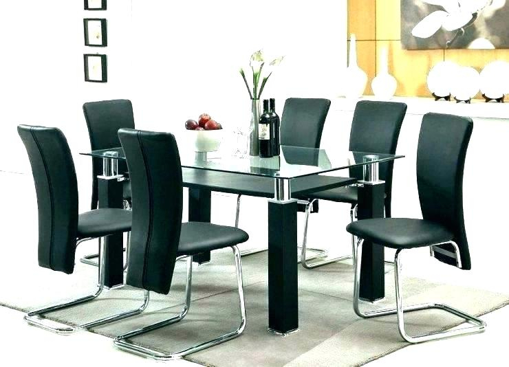 Retro Glass Top Dining Table Set With 6 Pu Leather Chairs Within Retro Round Glasstop Dining Tables (Image 16 of 25)