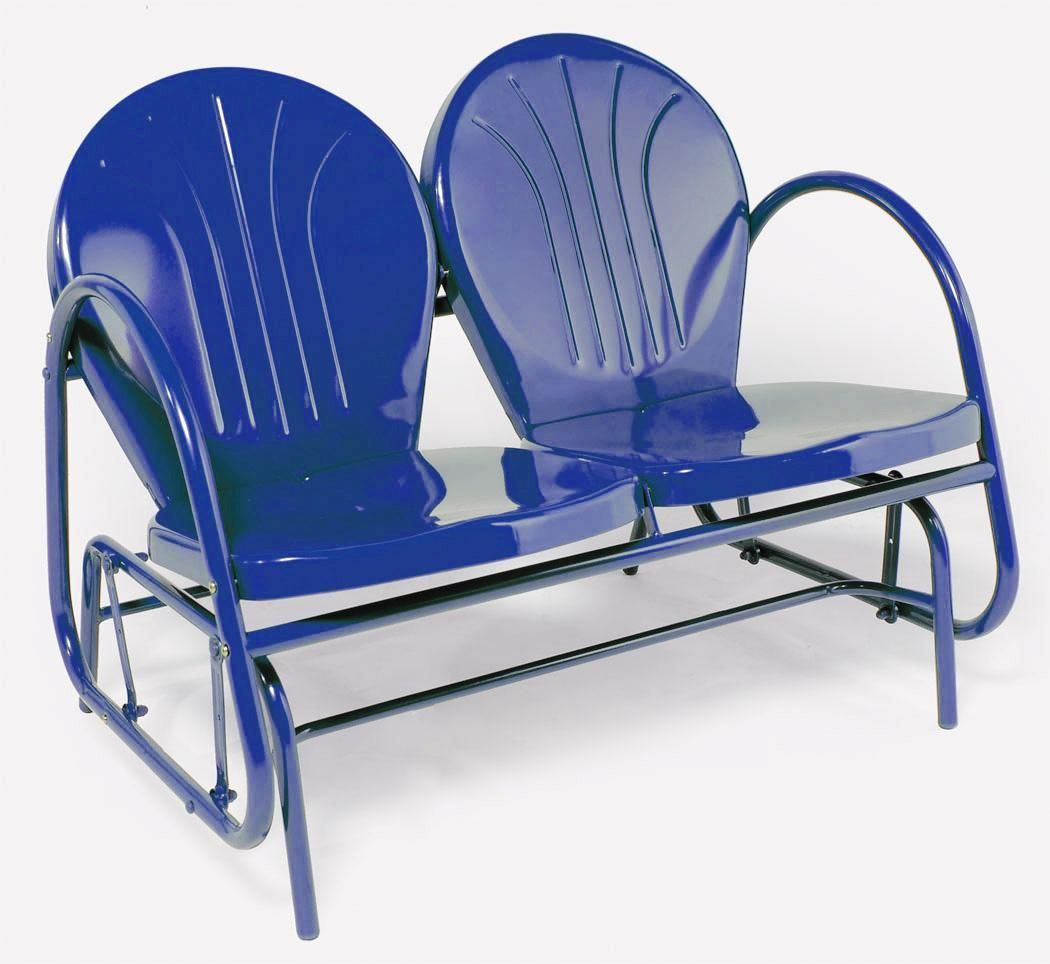 Retro Metal Double Glider Outdoor Lawn Patio Chair Blue New With Outdoor Retro Metal Double Glider Benches (View 2 of 25)