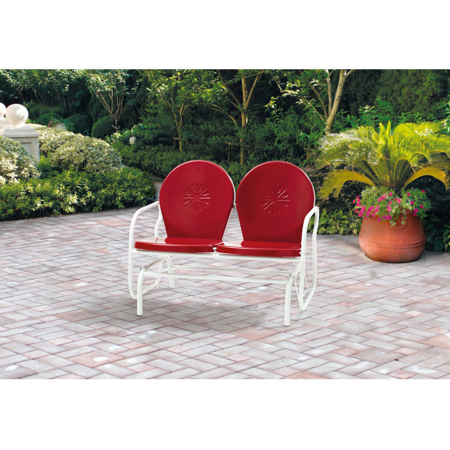 Retro Metal Glider Garden Seating Outdoor Furniture Yard Patio Red Chair  Seats 2 For Metal Powder Coat Double Seat Glider Benches (View 9 of 25)
