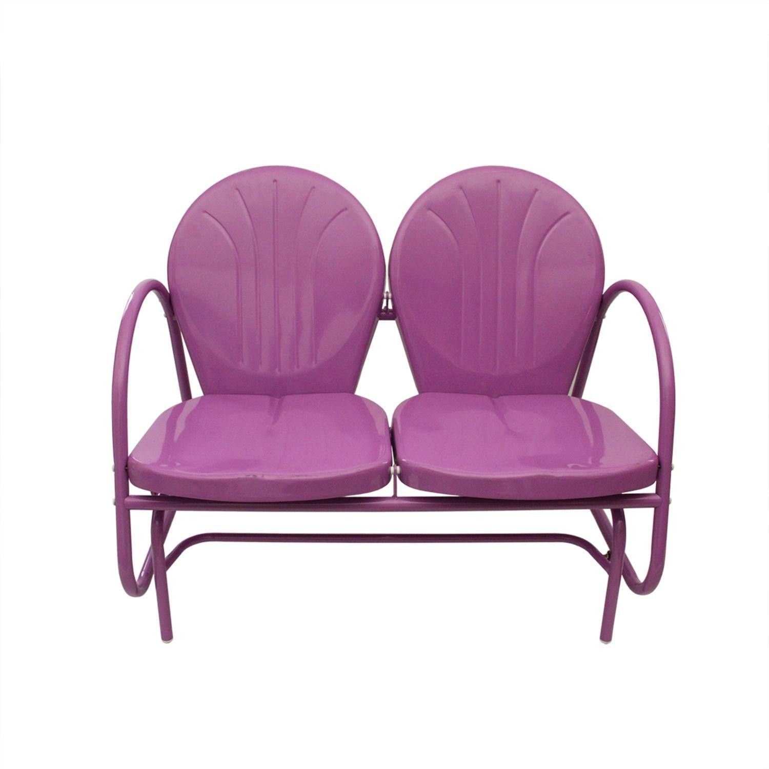 Retro Metal Purple Tulip Double Glider Chair | Glider Pertaining To Outdoor Retro Metal Double Glider Benches (View 11 of 25)