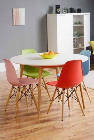 Retro Round White Dining Table And Wooden Marble Top Kitchen Pertaining To Retro Round Glasstop Dining Tables (Image 19 of 25)