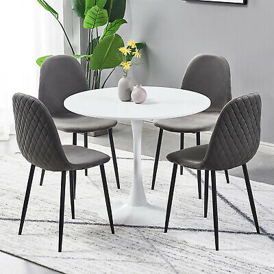 Retro Small Round Dining Table And 4 Velvet Fabric Chairs Intended For Frosted Glass Modern Dining Tables With Grey Finish Metal Tapered Legs (View 22 of 25)