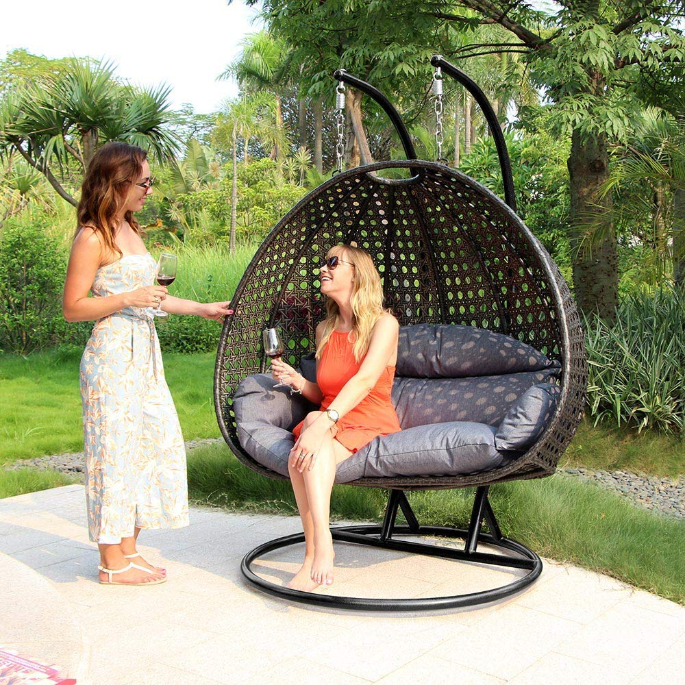 Review: Luxury 2 Person Wicker Swing Chair With Stand For Patio Loveseat Canopy Hammock Porch Swings With Stand (Image 25 of 25)
