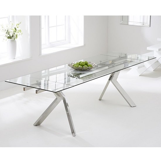 Rialto Extendable Glass Dining Table With Stainless Steel Legs Pertaining To Glass Dining Tables With Metal Legs (View 8 of 25)