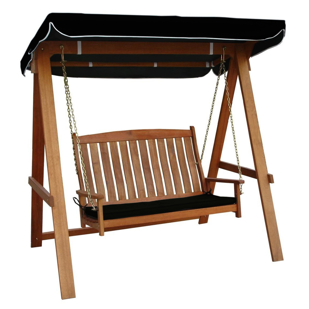 Rivers 2 Seat Hardwood Swing With Canopy & Cushion Intended For 2 Person Light Teak Oil Wood Outdoor Swings (View 16 of 25)