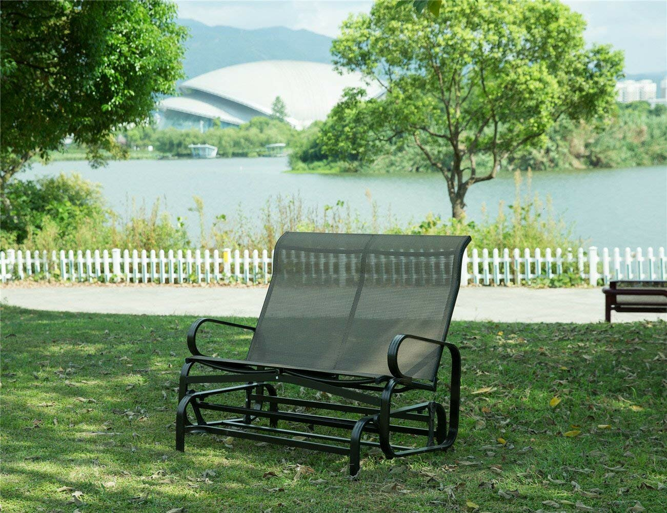 Rollison Outdoor 2 Person Glider Bench Within Speckled Glider Benches (View 24 of 25)