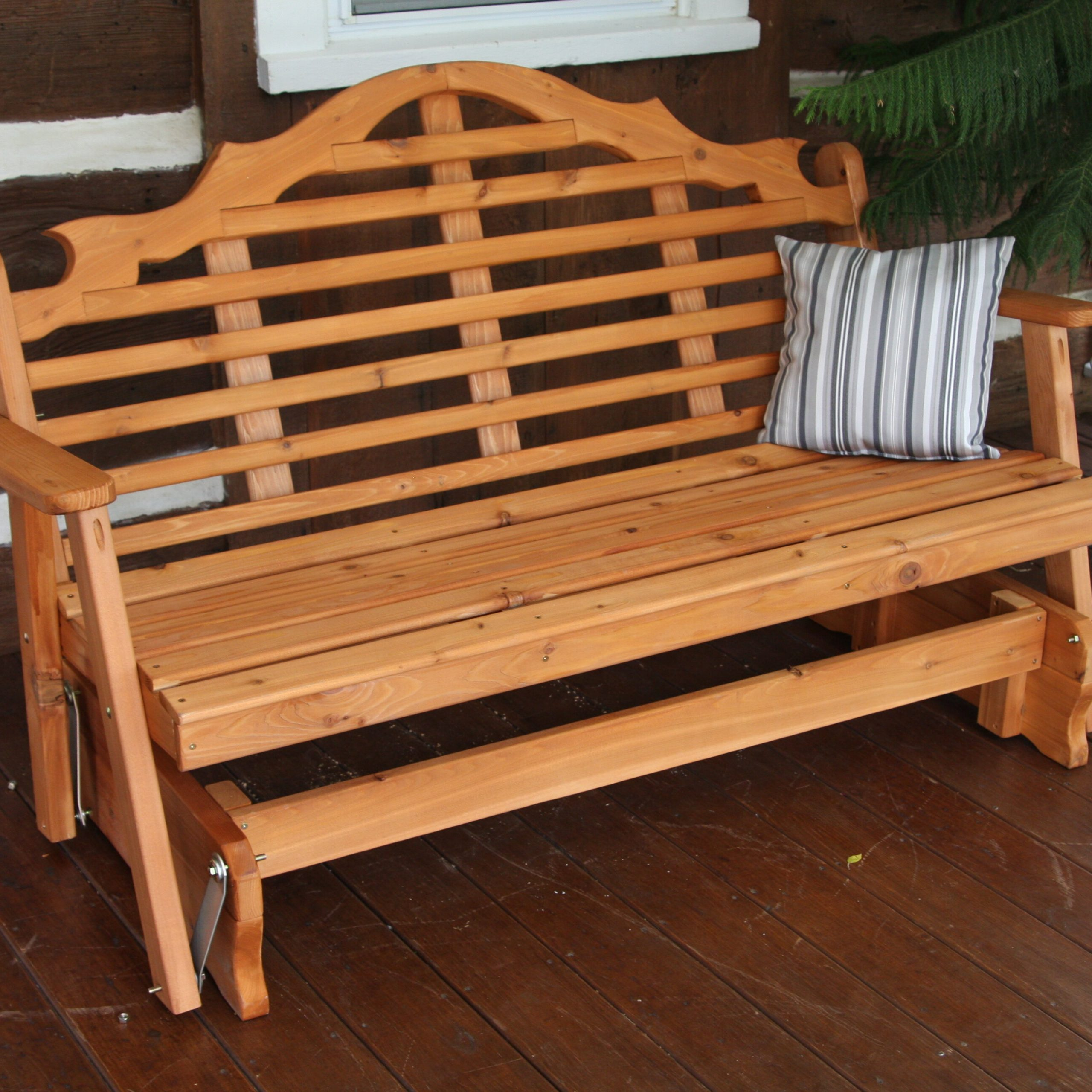 Rosecliff Heights Coury Glider Bench & Reviews | Wayfair Pertaining To Cedar Colonial Style Glider Benches (View 20 of 25)