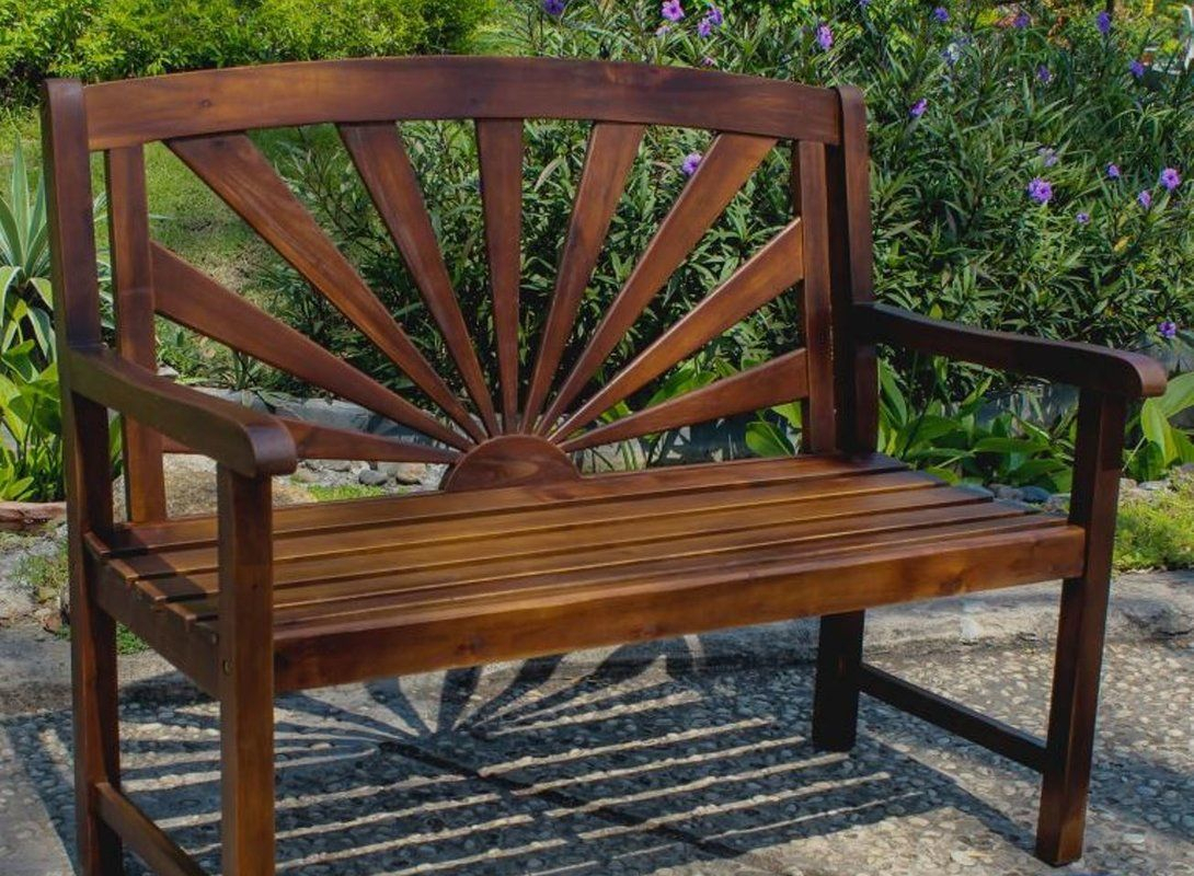 Rothstein Outdoor Wood Garden Bench | Patio Bench, Wooden Throughout Wood Garden Benches (View 4 of 25)