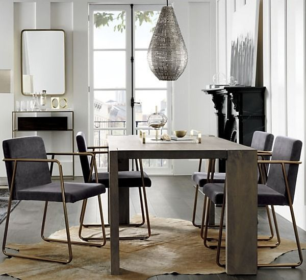 Rouka Dark Grey Dining Chair + Reviews | Dining Room Within Frosted Glass Modern Dining Tables With Grey Finish Metal Tapered Legs (View 7 of 25)