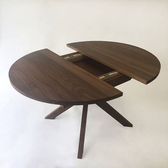 Round Dining Table With Extension – Solid Walnut With Modern With Regard To Contemporary 4 Seating Oblong Dining Tables (View 12 of 25)