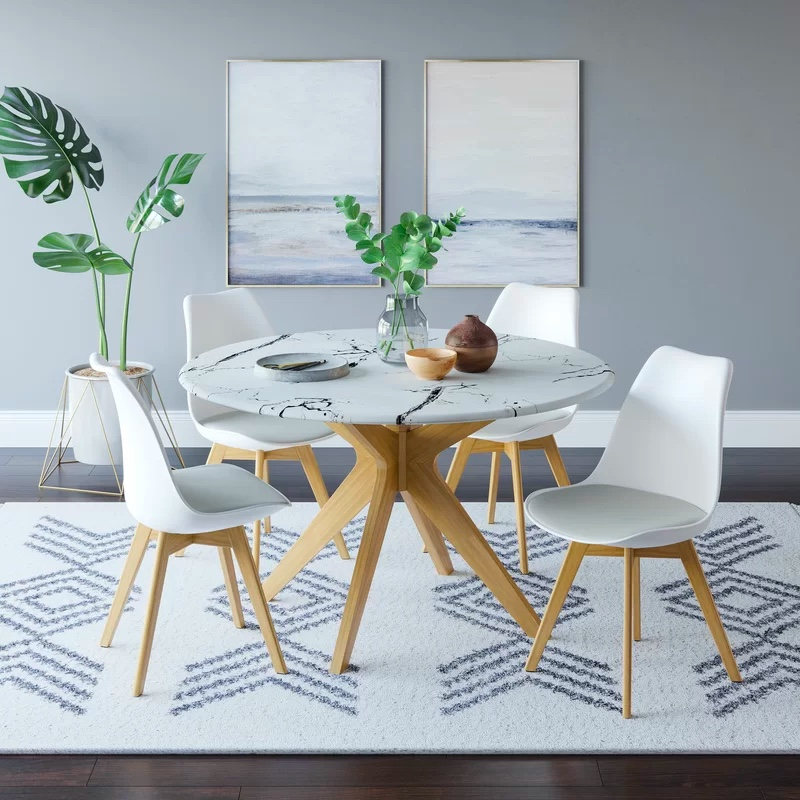 Round Dining Table With Faux Marble Top And Wooden Legs With Dining Tables With Black U Legs (View 16 of 25)