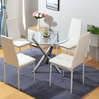 Round Glass/chrome Legs Dining Table And Leather Chairs In 4 Seater Round Wooden Dining Tables With Chrome Legs (View 25 of 25)
