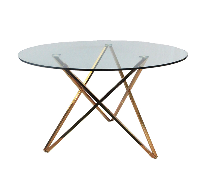 Round Glass Dining Table With Rose Gold Metal Legs Throughout Glass Dining Tables With Metal Legs (View 22 of 25)