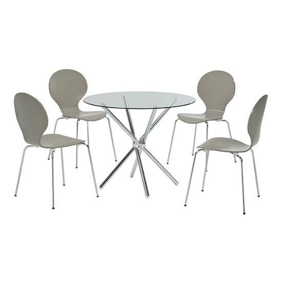 Round Glass Table With Attractive Chrome Leg Detail | Glass Inside 4 Seater Round Wooden Dining Tables With Chrome Legs (View 2 of 25)