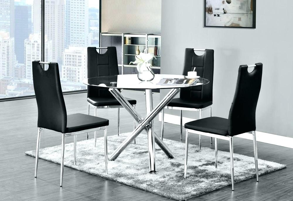 Round Glass Top Dining Table Set – Trackidz With Retro Round Glasstop Dining Tables (Image 22 of 25)