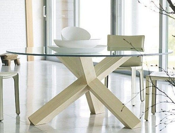 Round Glass Top Dining Table With Wooden Legs | Glass Round In Round Glass Top Dining Tables (View 6 of 26)