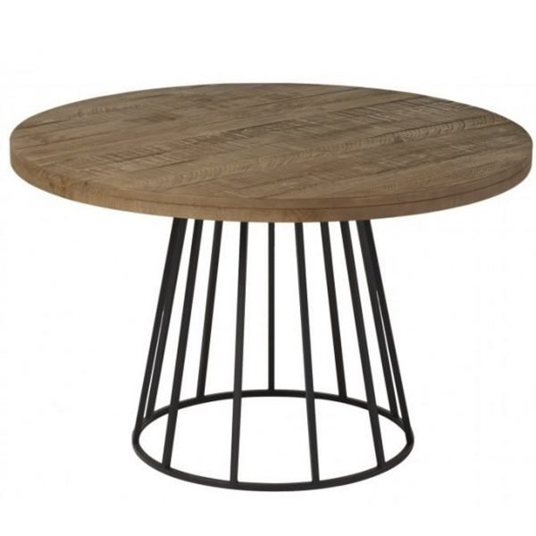Round Wood And Metal Dining Table Neo 279 | Metal Chairs Pertaining To Neo Round Dining Tables (Image 22 of 25)