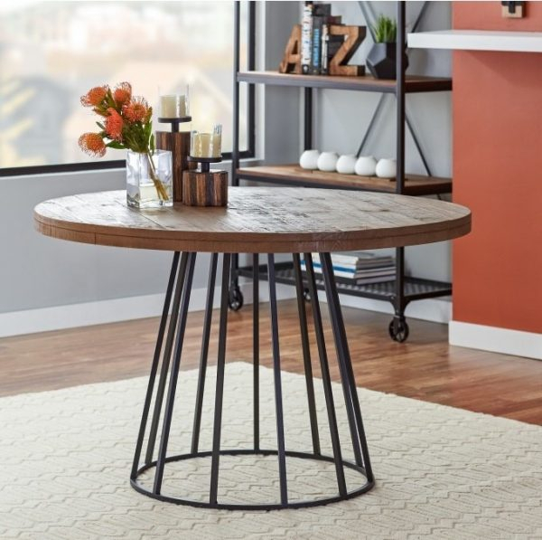 Round Wood And Metal Dining Table Neo 279 | Metal Chairs Regarding Neo Round Dining Tables (Image 23 of 25)