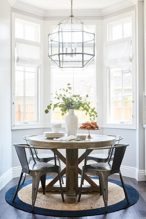 Round Wood Dining Table On Round Jute Rug – Transitional Intended For Morris Round Dining Tables (View 3 of 25)