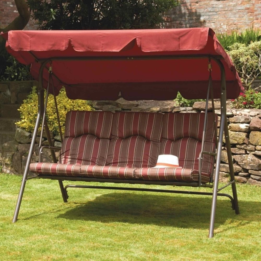 Royalcraft Amalfi Padded 3 Seater Swing Seat With Canopy For 3 Seater Swings With Frame And Canopy (Image 23 of 25)