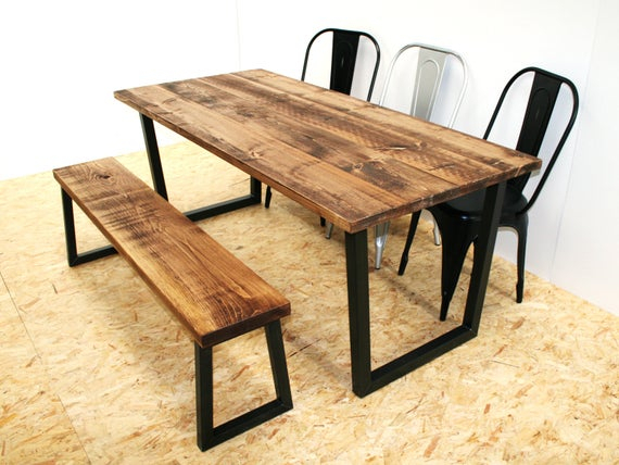 Rustic Dining Table And Bench Black Metal Legs Inside Dining Tables With Black U Legs (View 24 of 25)