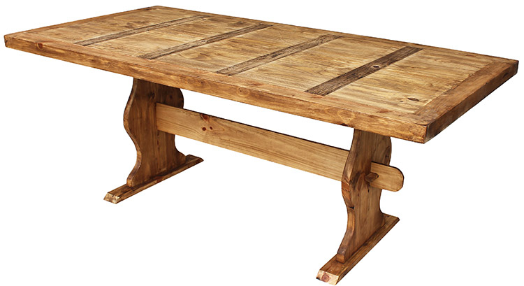 Rustic Furniture – Large Trestle Mexican Rustic Pine Dining Throughout Rustic Pine Small Dining Tables (View 3 of 25)