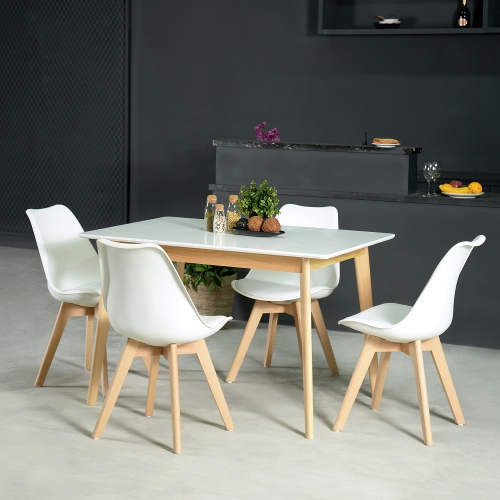 Rustic Mid Century Modern 6 Seating Dining Table In White And Natural Wood Regarding Coaster Contemporary 6 Seating Rectangular Casual Dining Tables (View 10 of 25)