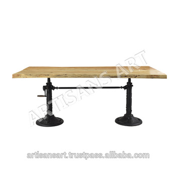 Rustic Solid Wood Live Edge Crank Dining Table,acacia Wood Slab Table  Manufacturer – Buy Crank Table,acacia Wood Live Edge Slab,wrought Iron Cast  Iron Throughout Acacia Wood Dining Tables With Sheet Metal Base (Image 18 of 25)
