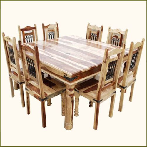Rustic Square Dining Table And Chair Set Seat 8 Person Solid With Regard To Rustic Country 8 Seating Casual Dining Tables (View 13 of 25)