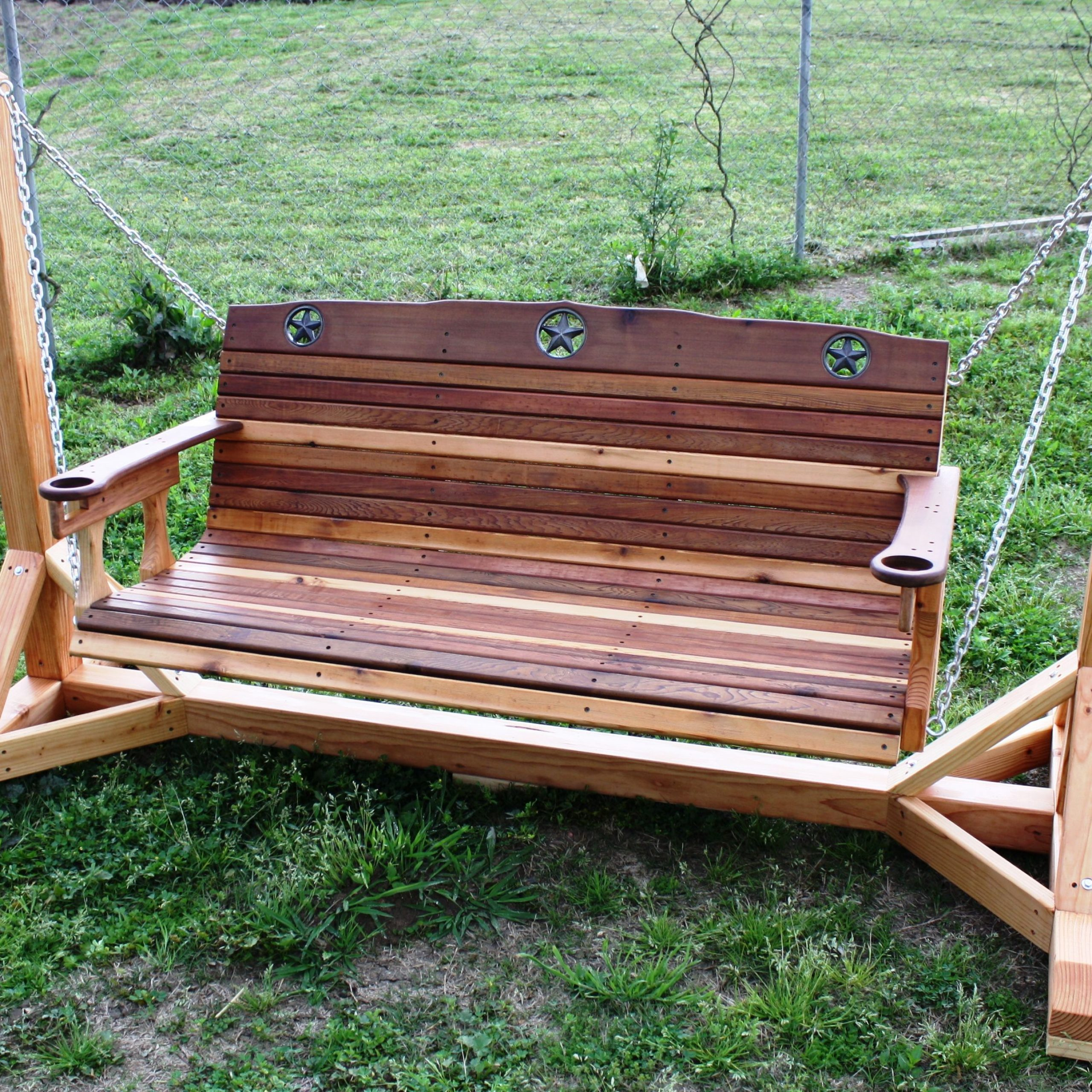 Rustic Star Texas Porch Swing – Cedar Creek Woodshop | Porch Throughout Patio Porch Swings With Stand (View 5 of 25)