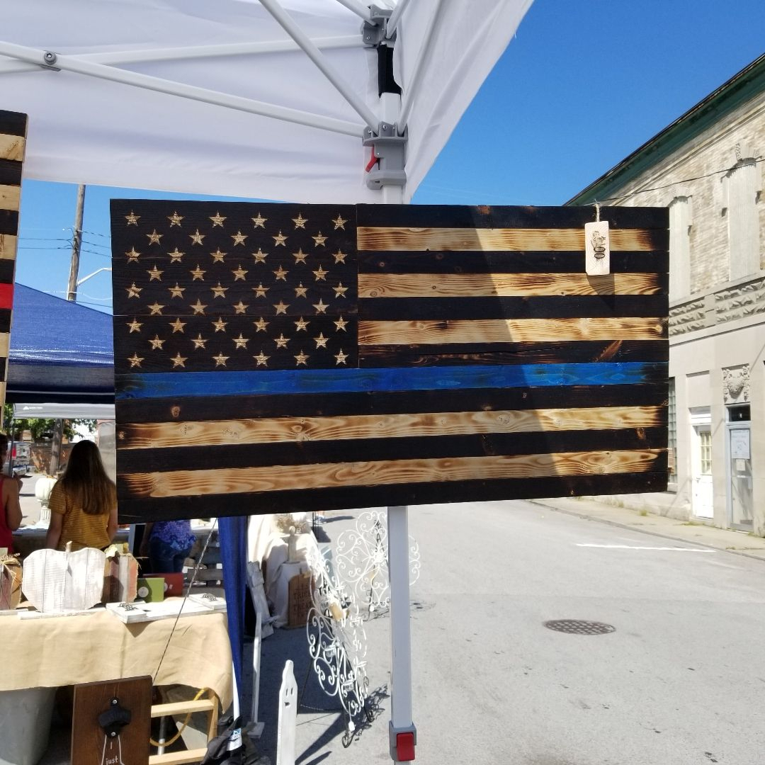 Rustic Thin Blue Line American Flag (View 9 of 25)