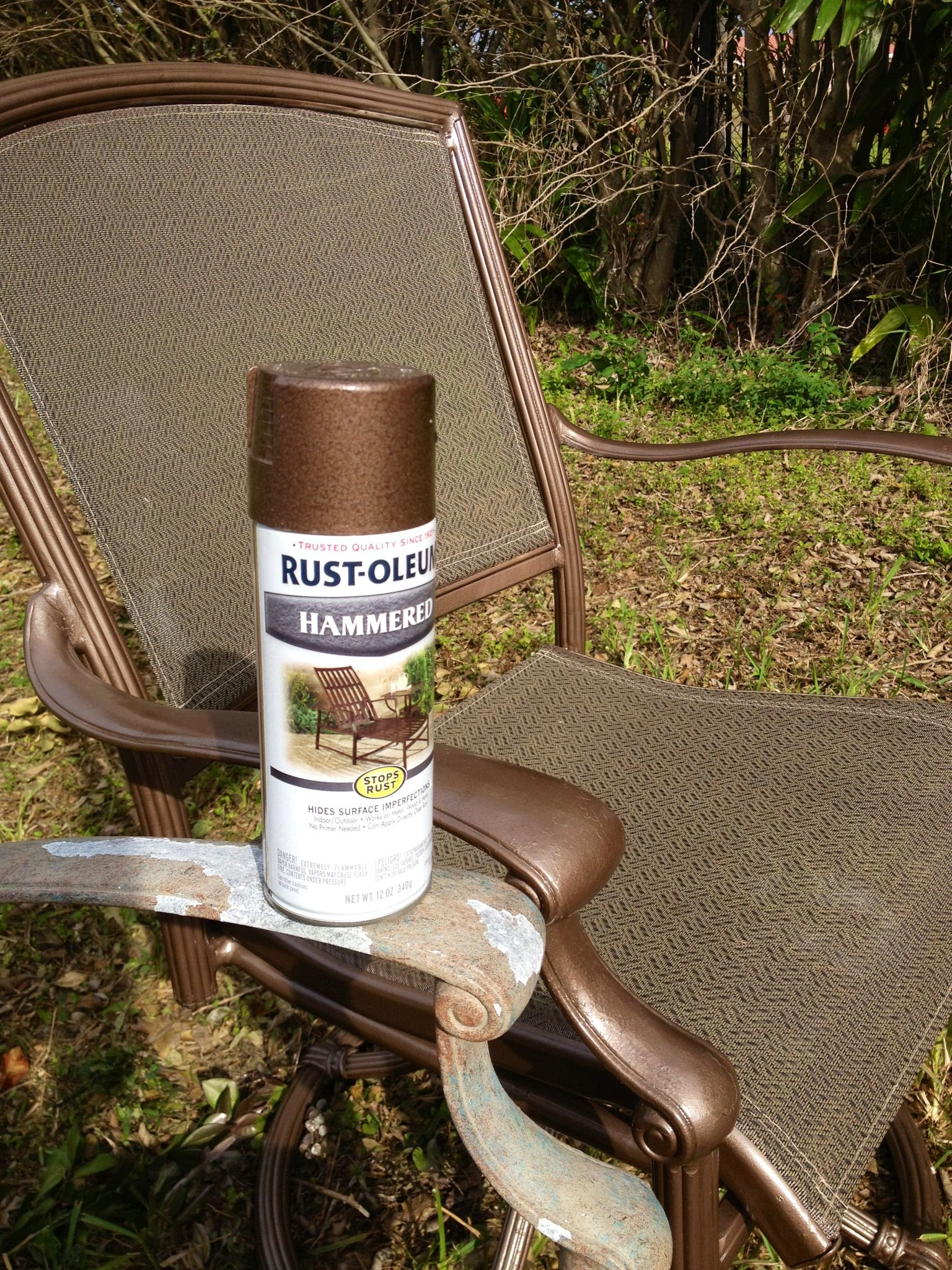 Rustoleum Hammered Metallic Spray Paint For My Upcycled Intended For 2 Person Hammered Bronze Iron Outdoor Swings (View 17 of 25)