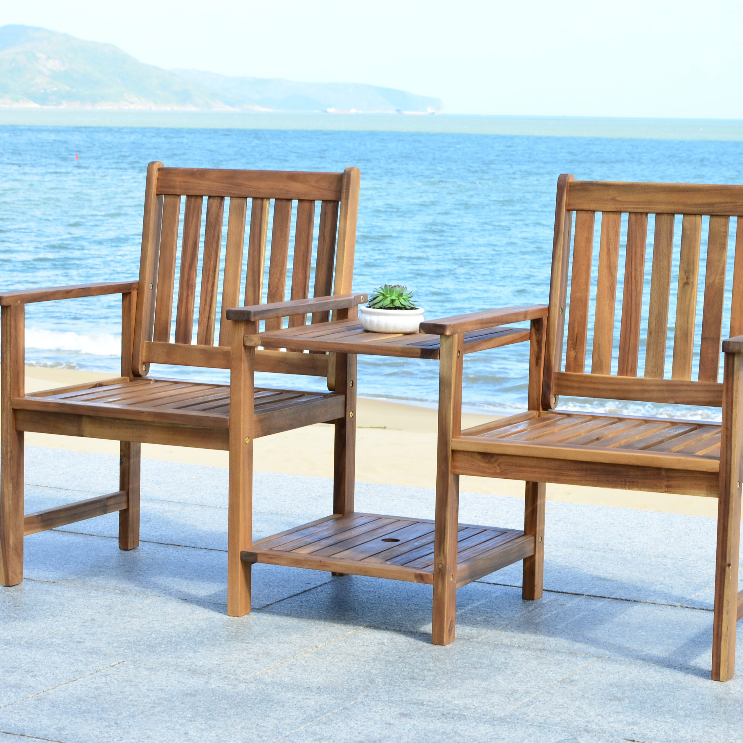 Safavieh Brea Indoor/outdoor Modern Twin Seat Bench Intended For Twin Seat Glider Benches (View 21 of 25)