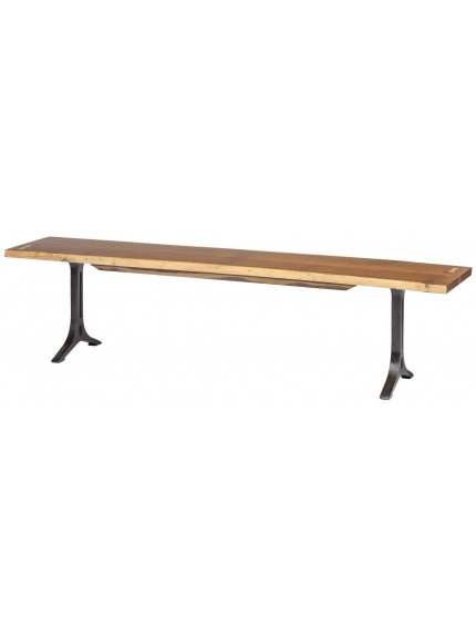 """Samara Dining Bench In Smoked Oak Bronzed Gilt 71"""" Long Inside Dining Tables In Smoked/seared Oak (Image 22 of 26)"""