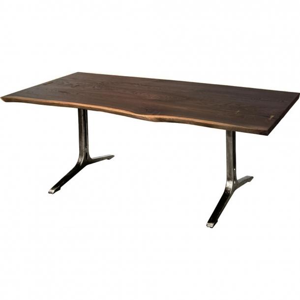 "Samara Dining Table In Smoked Oak|Black 78""long With Regard To Dining Tables In Smoked Seared Oak (Photo 2 of 25)"