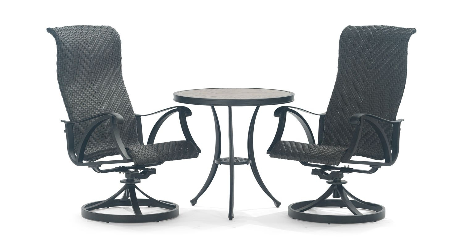 San Tropez 3 Piece Patio Set | Poolside Furniture | Poolside With Woven High Back Swivel Chairs (Image 20 of 25)