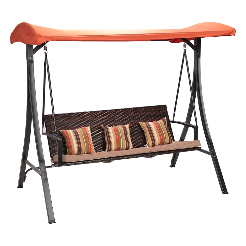 Sandra Rattan 3 Seater Swing – Multi Color In Canopy Patio Porch Swings With Pillows And Cup Holders (View 7 of 25)