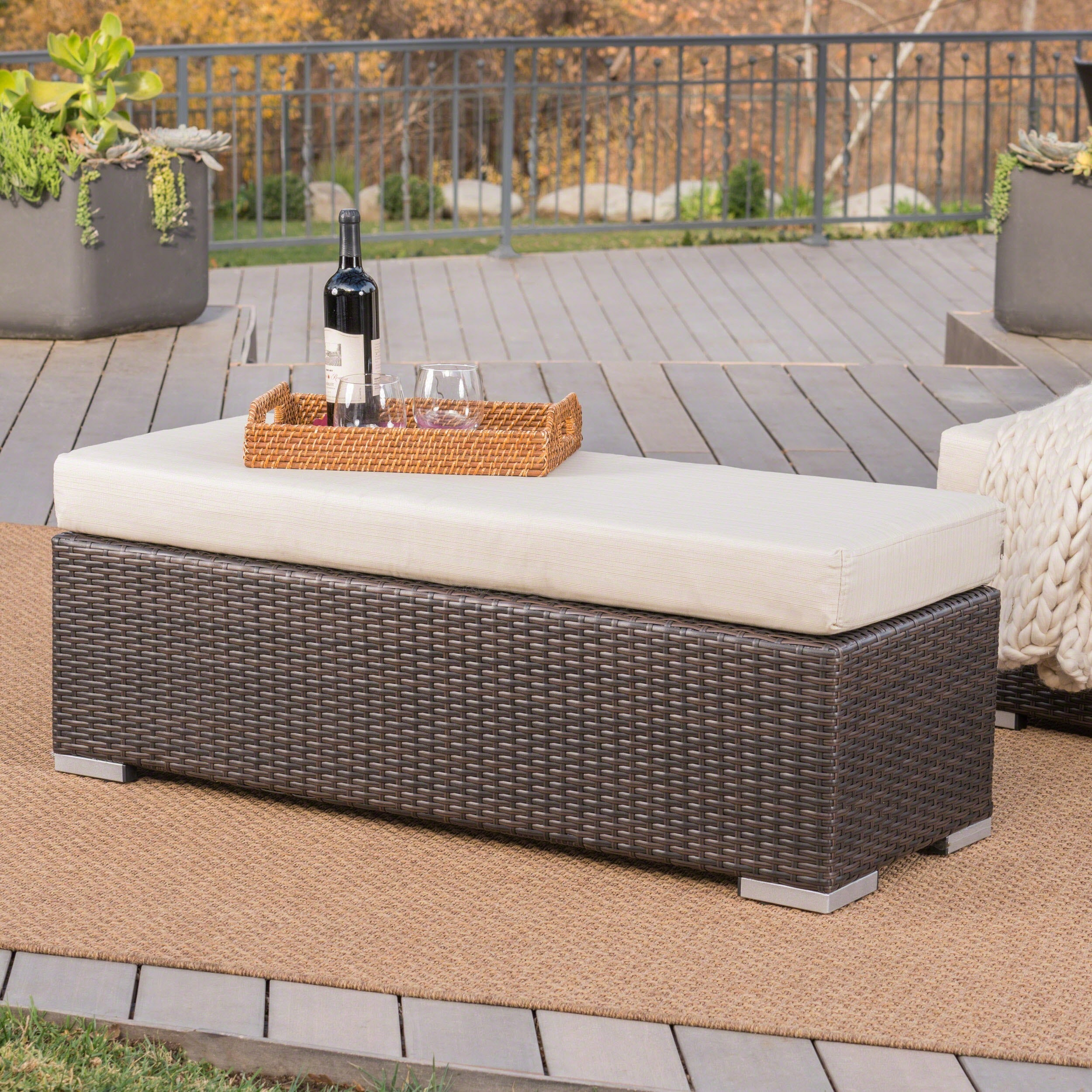 Santa Rosa Outdoor Wicker Bench With Cushionchristopher Within Center Table Double Glider Benches (View 25 of 25)