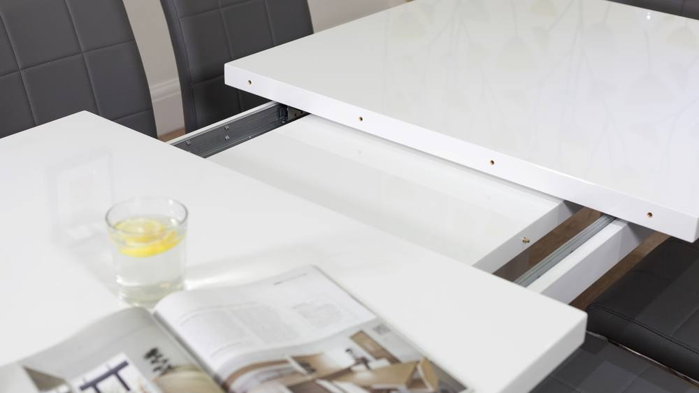 Sanza Small Extending White Gloss Dining Table In Extension Dining Tables (View 7 of 25)