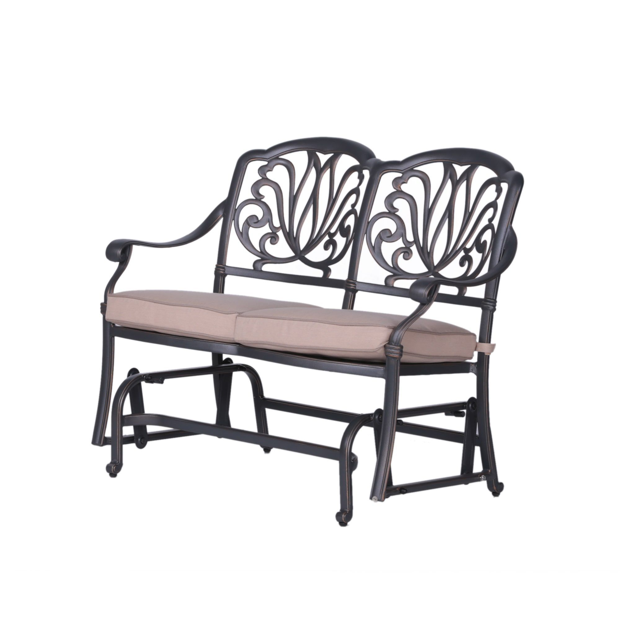Saratoga Aluminum (Silver) Cushioned Bench Glider (Gray Within Iron Grove Slatted Glider Benches (View 4 of 26)