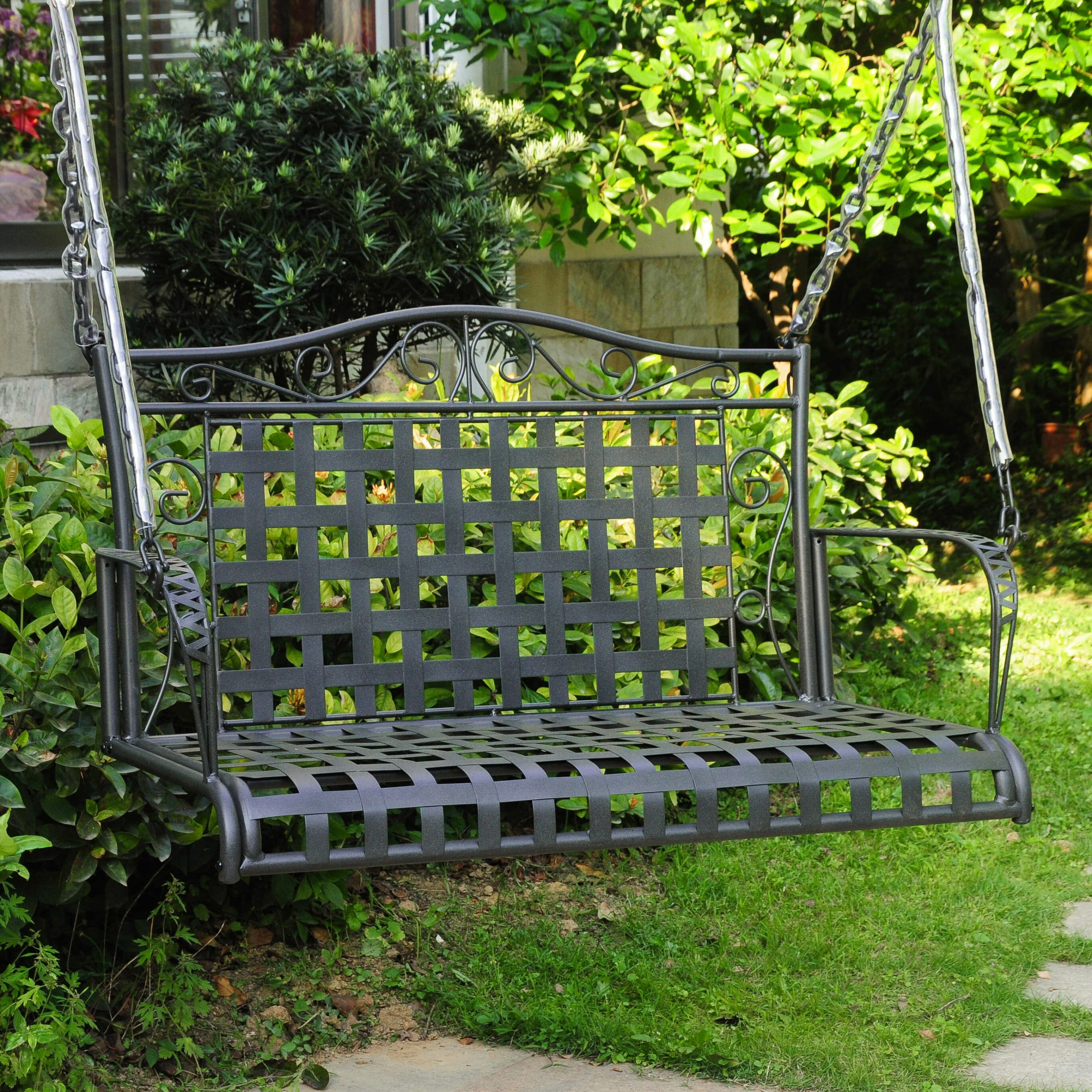 Saundra Iron Porch Swing For Iron Grove Slatted Glider Benches (View 23 of 26)