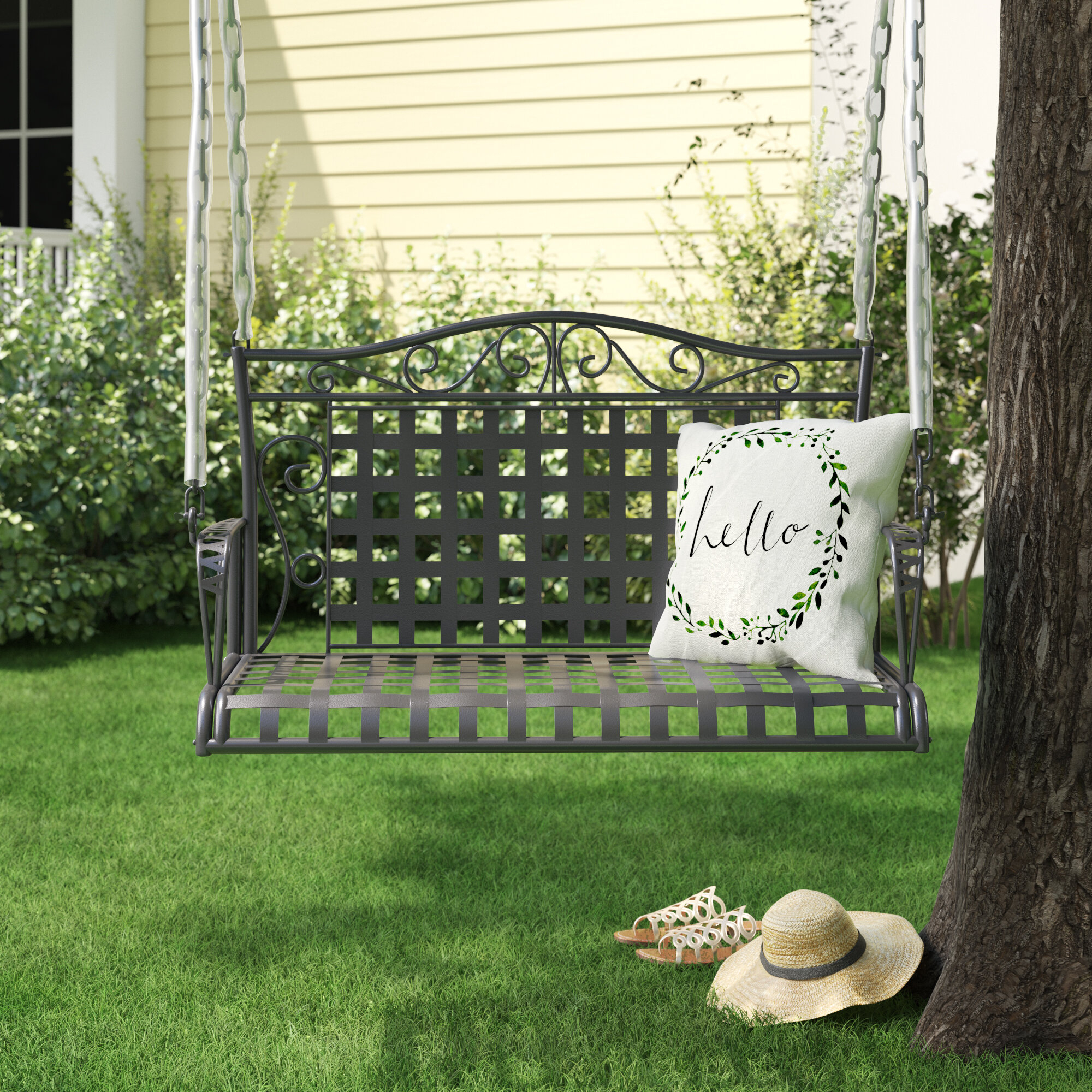 Featured Image of 1 Person Antique Black Iron Outdoor Swings