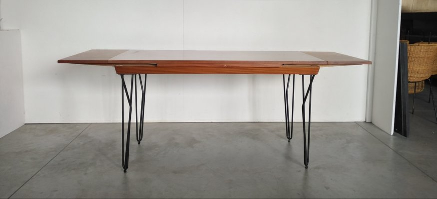Scandinavian Modern Extending Iron And Teak Dining Table, 1960S Inside Iron Wood Dining Tables (View 23 of 25)